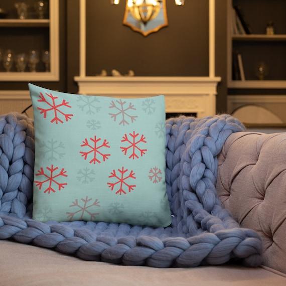 SNOWFLAKE THROW PILLOW Snowflake Pillow Home Decor Holiday Decorations Christmas Pillow Square Decorative Throw Pillow and Insert Home Decor