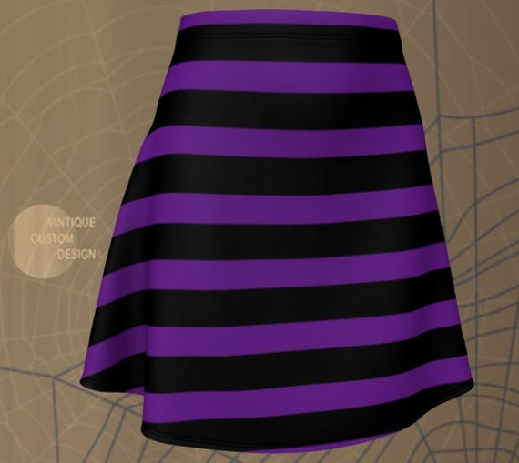 WITCH Skirt HALLOWEEN SKIRT Womens Witch Skirt Striped Skirt for Halloween Fitted Skirt or Flare Skirt Purple and Black Skirt Witch Costume