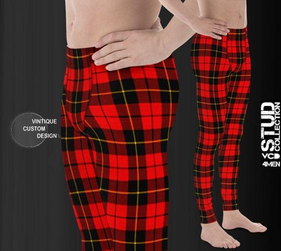 Red Tartan PLAID LEGGINGS MENS Yoga Pants for Men Christmas Yoga Leggings Mens Leggings Matching Leggings Daddy and Me Plaid Yoga Pants
