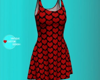 LOVE DRESS VALENTINES Day Dresses for Women Red and Black Heart Dress Heart Print Designer Fashion Dress in Bodycon and Fit and Flare Styles