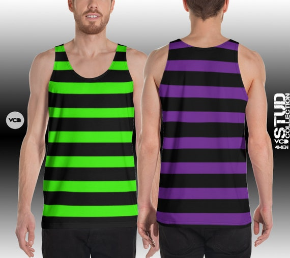 Witch Tank Top MENS HALLOWEEN TOP Green and Black or Purple and Black Striped Tank Top for Men Athletic Tank Top Witch Costume for Men