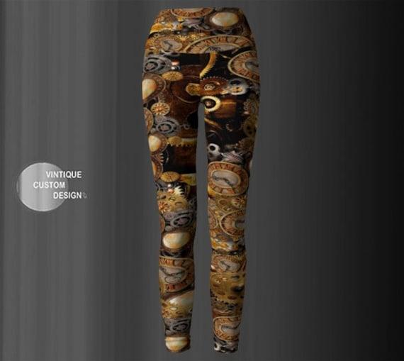 STEAMPUNK LEGGINGS Gears & Clocks Cyberpunk Yoga Leggings Womens Steampunk Leggings Steam Punk Clothing Futuristic Clothing Armor Leggings