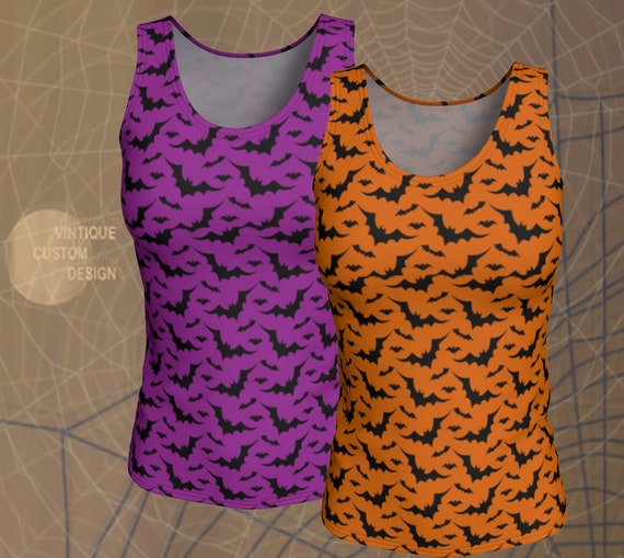 BAT Tank Top HALLOWEEN Shirt Womens Tank Top for Halloween Orange and Black or Purple and Black Bat Print Shirt Bat Top for Women Tank Top