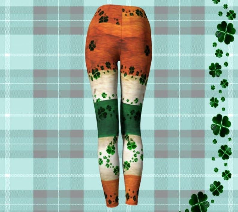 PATRICK/'S DAY Leggings for Women Yoga Pants Yoga Leggings Irish Flag and Shamrock Four Leaf Clover Printed Leggings Orange Green /& White ST