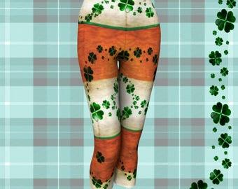 YOGA CAPRI LEGGINGS for Saint Patricks Day Womens Sexy Print Leggings Sexy Yoga Pants Capri Leggings Irish Flag Leggings St Pattys Day Pants