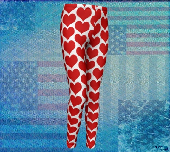 GIRLS HEART LEGGINGS Red and White Heart Leggings Girls Heart Tights for Kids Girls Leggings Girls Baby Leggings Toddler Leggings for Girls