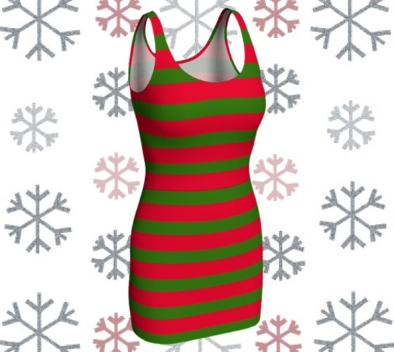 Christmas Dress Women's Elf DRESS Womens ELF Costume Cosplay Body Con Dress Costume Dress Red and White Green Striped Dress Party Dress