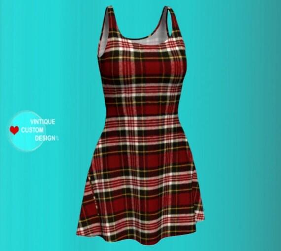 PLAID BODYCON DRESS Red Tartan Plaid Dress Sexy Mini Dress Womens Clothing Designer Fashion Dress Sexy Print Dress Tartan Plaid Flare Dress