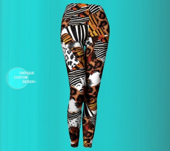 JUNGLE SAFARI LEGGINGS Women's Animal Print Leggings Yoga Pants Womens Yoga Leggings Animal Print Mix Zebra Print Tiger Print Cheetah Print