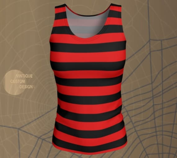 Red and Black STRIPED TANK TOP Freddie Kruger Top Womens Halloween Tank top Witch Tank Top Workout Tank Top Striped Tank Top for Women