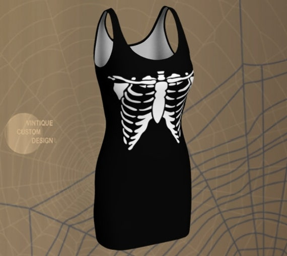 SKELETON DRESS HALLOWEEN Bodycon Dress Womens Halloween Costume Dress Flare Dress or Body-con Dress Black and White Skeleton Print Dress