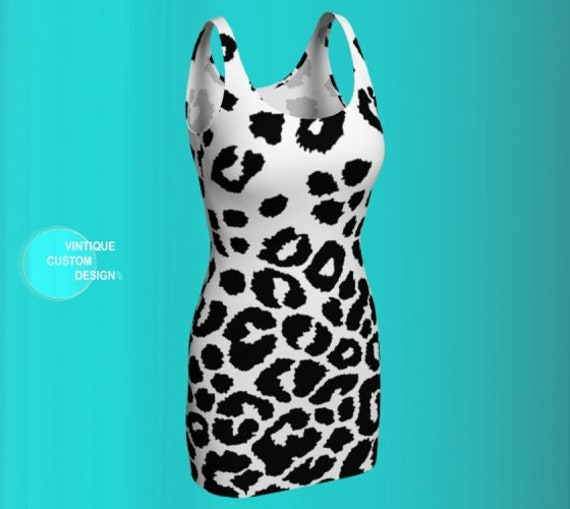 SNOW LEOPARD DRESS Animal Print Dress Women's Body Con Dress or Flare Dress in Black and White Cheetah Print Dress Leopard Print Dress