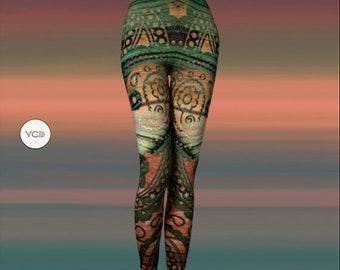 Boho Leggings Tribal Art Printed Art Leggings Tribal Pattern Leggings Hippie clothing Egyptian Bohemian Boho Yoga Leggings Tribal Tights