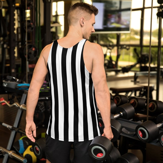 MENS Referee TANK TOP Halloween Top Black and White Striped Tank Top Prisoner Criminal Tank Top for Halloween Costume for Men Jail Tank Top