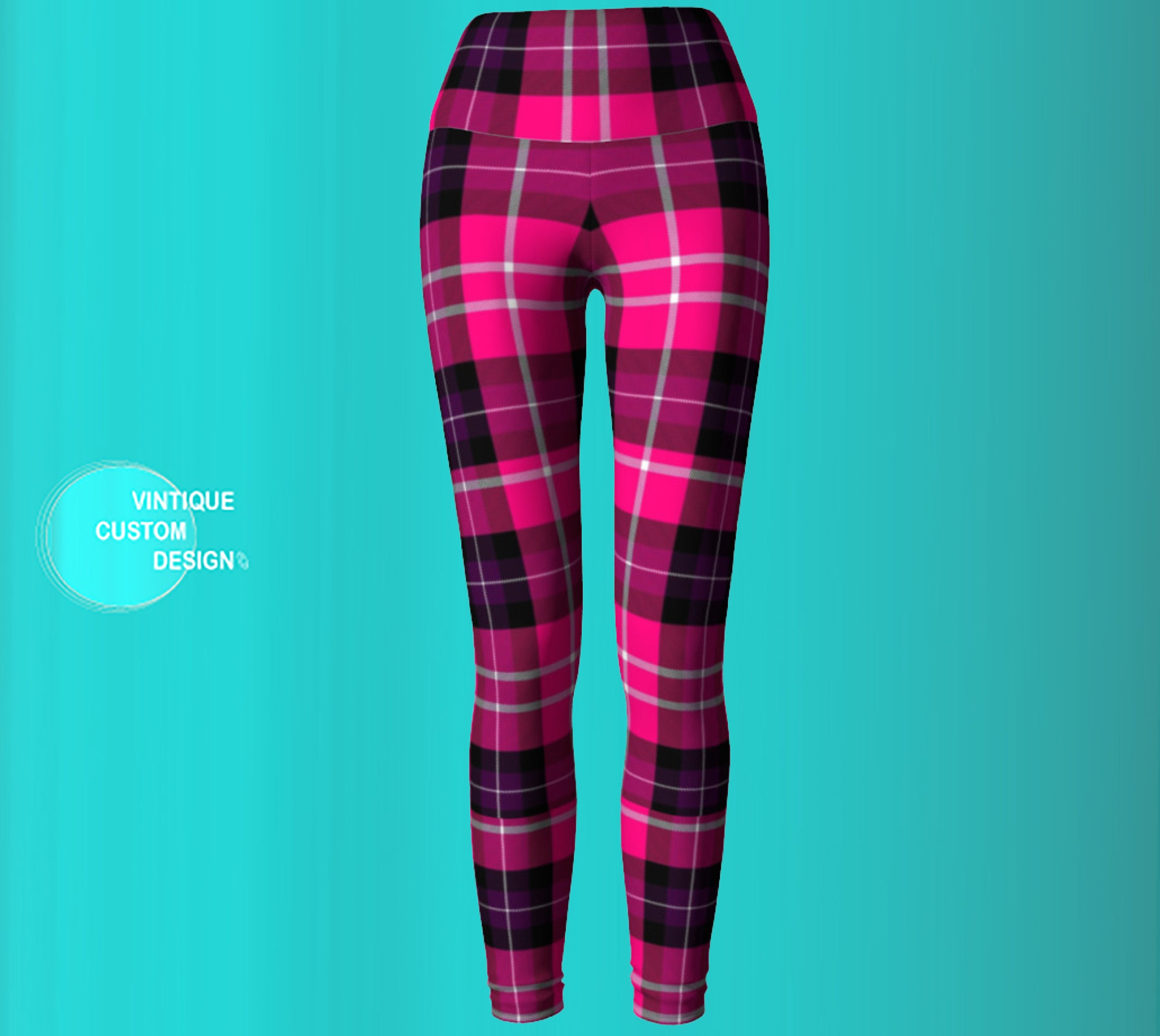 8296c125946 Pretty in Pink YOGA Pants Tartan PLAID Yoga LEGGINGS for Women Pink ...