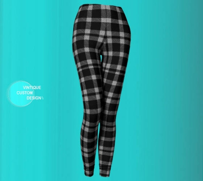 34e8db67db82ed Grey Checkered PLAID LEGGINGS for Women Black and White Plaid | Etsy