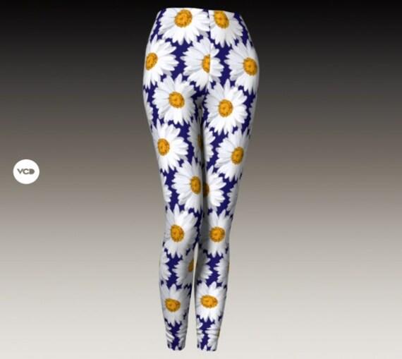 DAISY LEGGINGS FLORAL Spring Leggings Women's Leggings Flower Printed Leggings for Women Yoga Leggings Womens Yoga Pants Daisies Tights