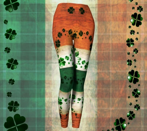 IRISH FLAG St. Patricks Day Leggings Womens St. Patty's Day Leggings Womens Clothing Sexy Print Leggings Shamrock Clover Irish Pride Pants