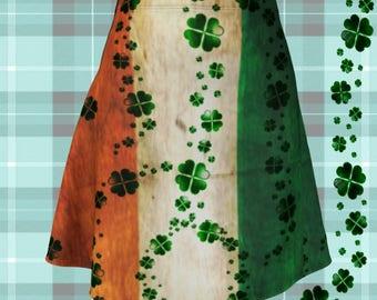 SHAMROCK SKIRT for Women St Patricks Day Skirt Irish Pride Fashion Skirt Flare Mini Skirt Clover Print Skirt St Pattys Outfit Womens Skirts