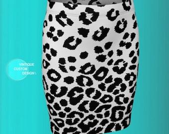 SNOW LEOPARD SKIRT Animal Print Skirt Black and White Cheetah Print Skirt Women's Designer Skirt High Waisted Skirt Fitted Skirt Flare Skirt