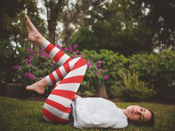 Red and White Striped LEGGINGS VALENTINES Day Leggings Striped Leggings Striped Womens Yoga Leggings Red and White Candy Cane Yoga Pants