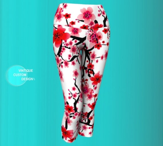 Cherry Blossom LEGGINGS Capri Leggings WOMENS Yoga PANTS Yoga Leggings for Women Pink and White Cherry Blossom Printed Leggings Floral Pants
