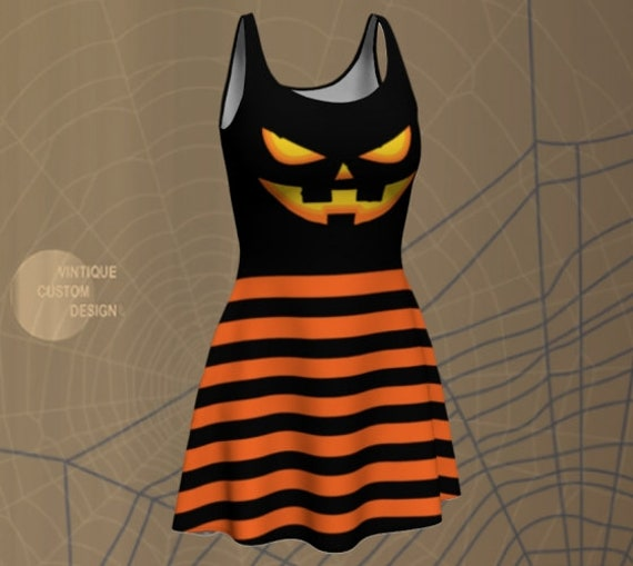 Jack O' Lantern HALLOWEEN DRESS Bodycon Dress Womens Halloween Costume Dress Flare Dress or Body-con Dress Orange and Black Striped Dress