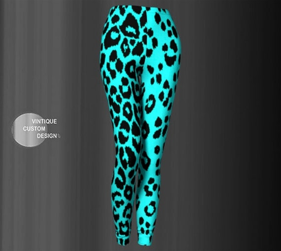 Animal Print LEGGINGS Womens Cheetah Print Leopard Print Leggings YOGA PANTS Yoga Leggings for Women Teal and Black Cheetah Print Tights