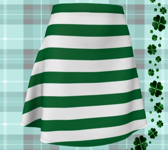 Leprechaun SKIRT Dark Green & White Striped Skirt St. Pattys Day Skirt Fitted or Flare Styles Designer Skirt for Women Clothing Skirts