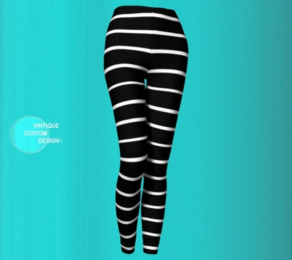 LEGGINGS WOMENS Black and White PINSTRIPED Leggings Yoga Leggings Women's Yoga Pants Designer Fashion Print Leggings Workout Clothing Pants