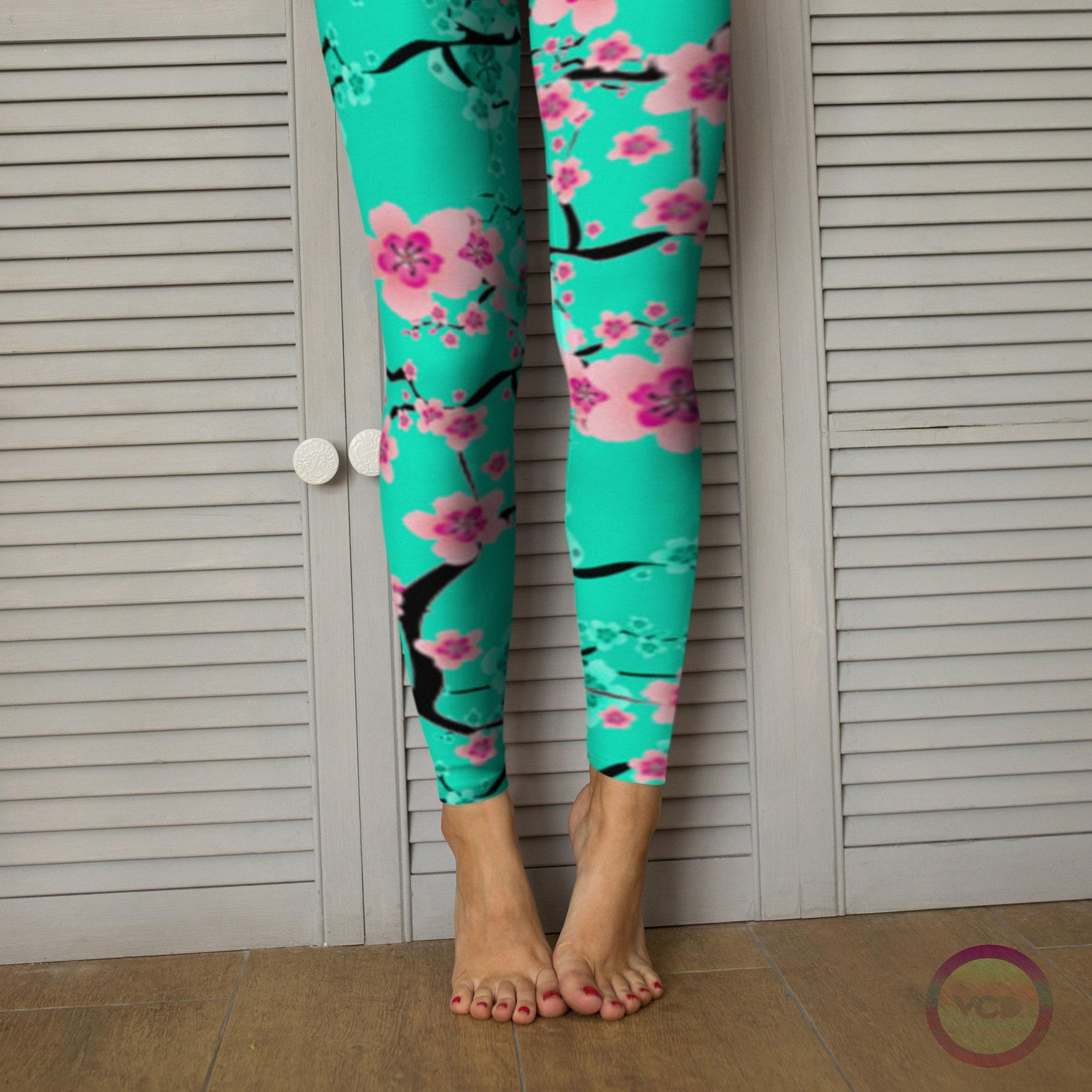 0d5afe44a1ba6 FLORAL SPRING LEGGINGS Cherry Blossom Pattern Teal / Pink Flower Printed  Leggings for Women Yoga Leggings Womens Yoga Pants Floral Print