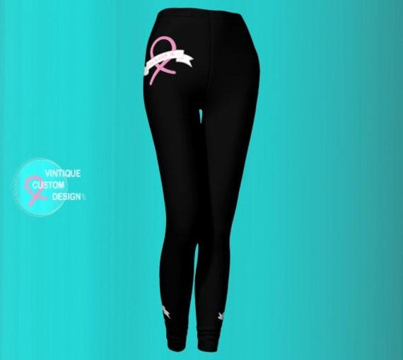 Leggings Womens PINK RIBBON Breast Cancer Awareness Pink and Black Printed Leggings Yoga Pants Yoga Leggings Work Out Clothing BCAM Clothing