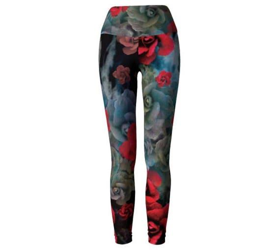 LEGGINGS, YOGA PANTS, Designer Art Legging's, Womens, Rose Pants, Rose Leggings, Art Leggings, Yoga Leggings, Designer Fashion Leggings