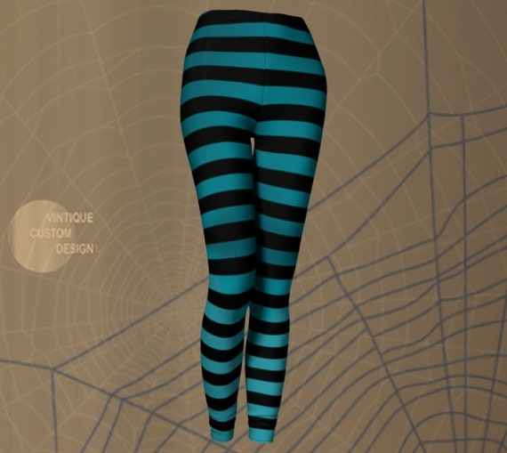 WITCH TIGHTS LEGGINGS Women's Halloween Leggings Blue and Black Striped Leggings Yoga Leggings Women's Yoga Pants Designer Fashion Leggings