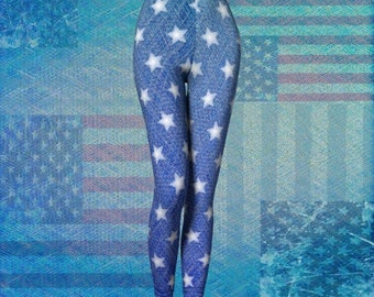 STARS and Stripes WOMENS Jean Leggings Denim Print LEGGINGS Yoga Leggings Womens Yoga Pants Independence Day Clothing Patriotic Leggings