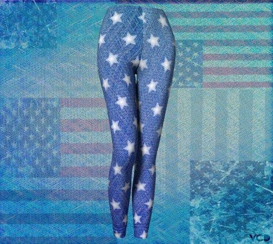 f9ae9cf95eeff6 STARS and Stripes WOMENS Jean Leggings Denim Print LEGGINGS Yoga Leggings  Womens Yoga Pants Independence Day Clothing Patriotic Leggings