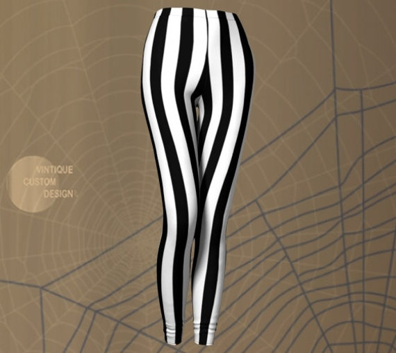 Halloween LEGGINGS Women's Striped Leggings Costume Leggings Cosplay Tights for Women Beetle Juice Leggings Black and White Vertical Stripe