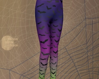 Purple and Green HALLOWEEN LEGGINGS KIDS Ombre Leggings Boys and Girls Leggings Halloween Bat Tights Baby Leggings Toddler Leggings Girls