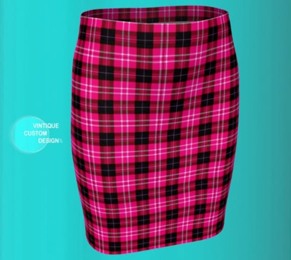 Pink Tartan PLAID MINI SKIRT Womens Skirts Tight Skirt Sexy Skirts High Waisted Skirts Tartan Skirt 50s Pencil Skirt Flare Skirt Plaid Skirt