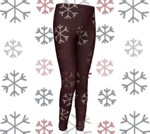 SNOWFLAKE LEGGINGS CHRISTMAS Leggings Snowflake Printed Leggings Baby Leggings Toddler Leggings Winter Leggings Tights Kids Brown and White