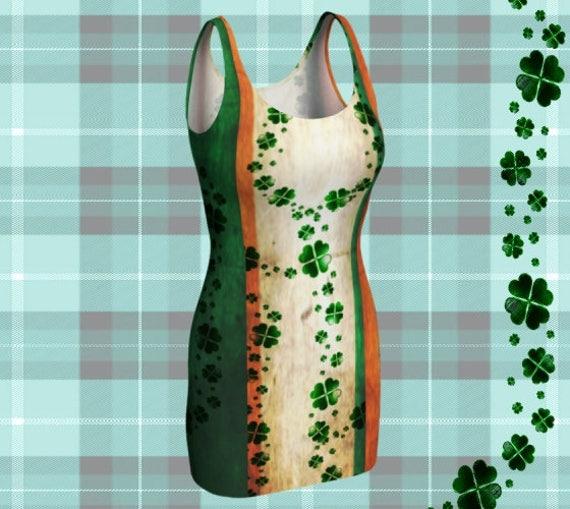Sexy BODYCON DRESS Saint Patricks Day Outfit Party Dress for WOMEN Sexy Mini Dress Sexy Rave Dress Festival Clothing Green Shamrock Dress