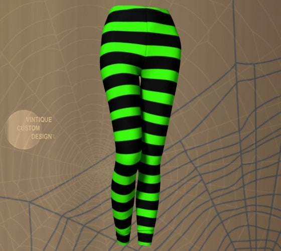 207ea8f6fff1c Witch LEGGINGS Halloween Tights WOMENS Witch Stockings Wicked Witch Costume  Green Black Striped Leggings Printed Leggings Costume for Her