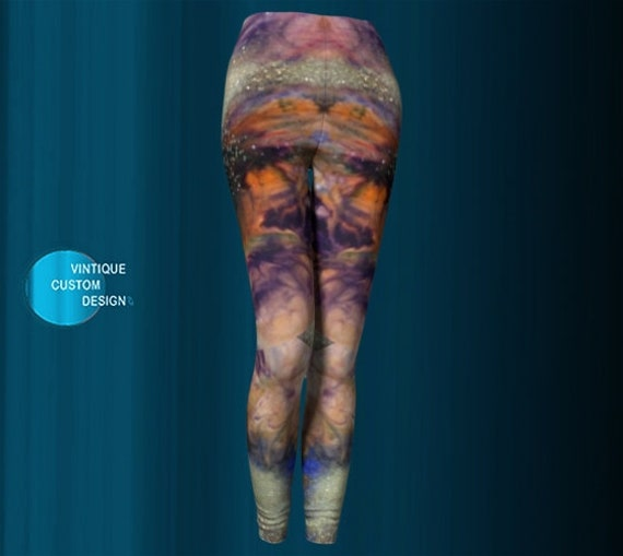Glitter LEGGINGS Galaxy Art Leggings YOGA PANTS Womens Yoga Leggings Gold Rainbow Glitter Printed Leggings Women Fitness Leggings Art Tights
