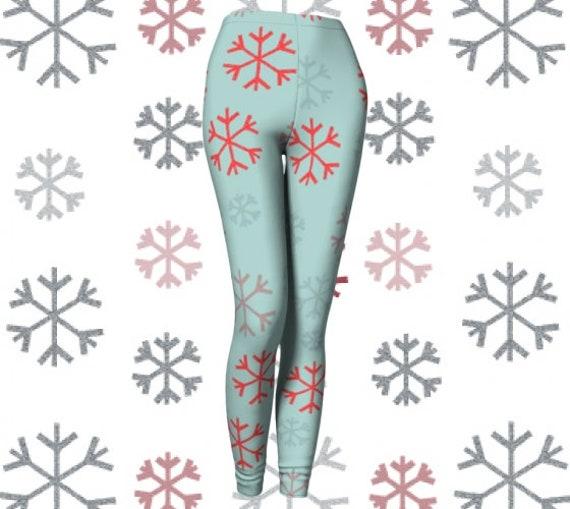 SNOWFLAKE LEGGINGS Womens Christmas Leggings Yoga PANTS Winter Wonderland Leggings Christmas Pattern Leggings Christmas Gift for Wife