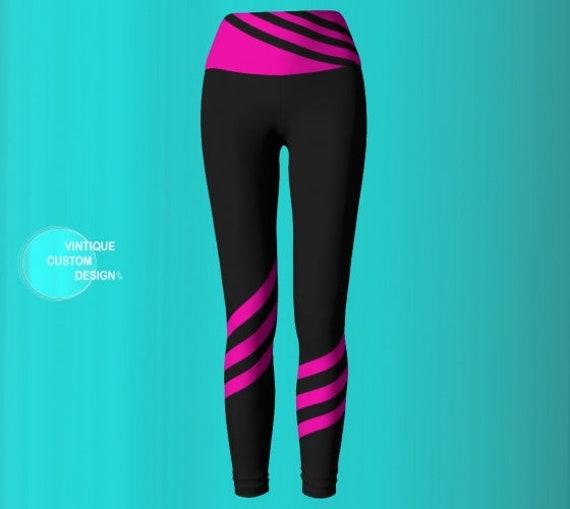 Breast Cancer LEGGINGS Pink Ribbon Yoga Leggings WOMENS Leggings Yoga Pants BCAM Pink Ribbon Capri Leggings Grey Pink Survivor Gift Support