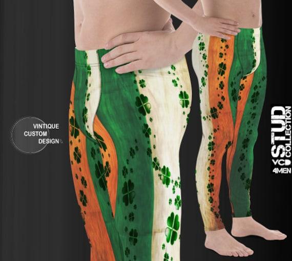 Irish Flag Leggings MENS St Patricks Day St Patty's Day Leggings MEGGINGS Joggers for Men Irish Pride Shamrock Clover Leggings Pants for Men