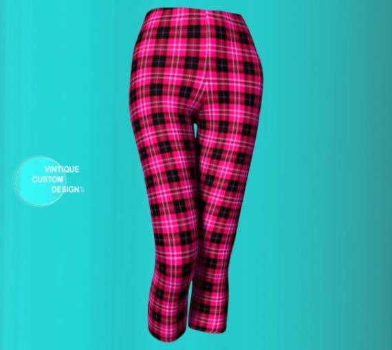 Plaid Tartan Leggings Yoga Capri Leggings Yoga Sexy Leggings Print Pink Black Women Capri for and Pants Sexy CAPRI Pink PANTS Plaid PLAID xcBAzwanq8