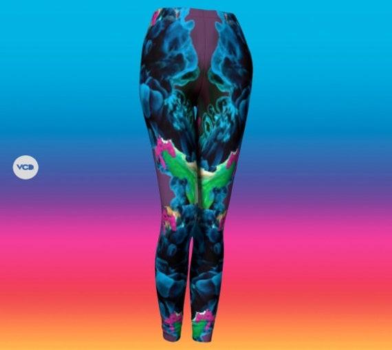 VAPORWAVE Leggings YOGA LEGGINGS Trippy Psychedelic Printed Leggings Yoga Pants Womens Leggings Rave Clothing Festival Clothing Electronic