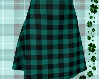Green Buffalo PLAID SKIRT Womens Plaid Skirts St. Patricks Day Skirt for Women Green and Black Plaid Flare Skirt Fitted Skirt Plaid Skirt