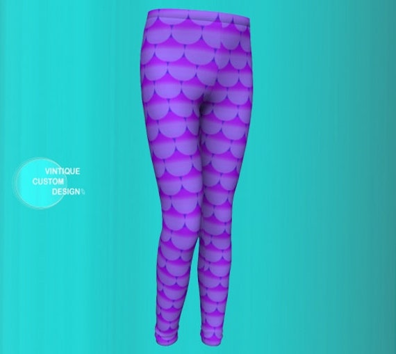 Leggings for GIRLS Mermaid Leggings Purple Mermaid Leggings Girls Baby Leggings Toddler Leggings Fish scale Leggings for Kids Girls Clothing
